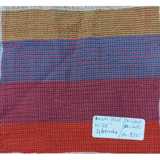 Organic Cotton Fabrics- Mesh Red Striped