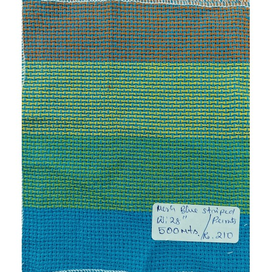 Organic Cotton Fabrics- Mesh Bondi Blue Striped